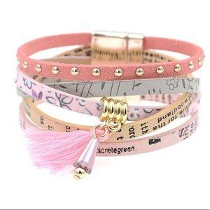 Jewelry - BOGO SALE Pink Wrap Leather Bracelet